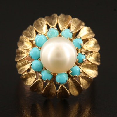 Vintage 10K Pearl and Turquoise Ring with Floral Design