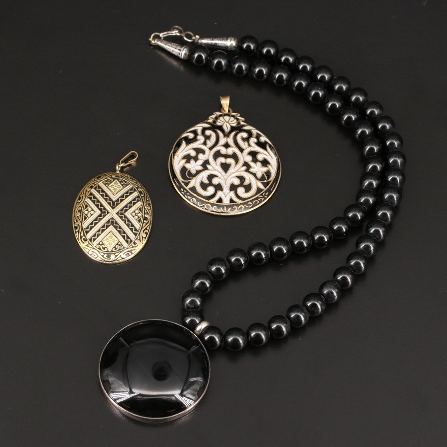 Sterling Silver Glass and Enamel Pendant Necklace and Pendants
