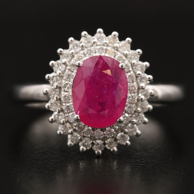 18K 1.15 CT Ruby and Diamond Double Halo Ring
