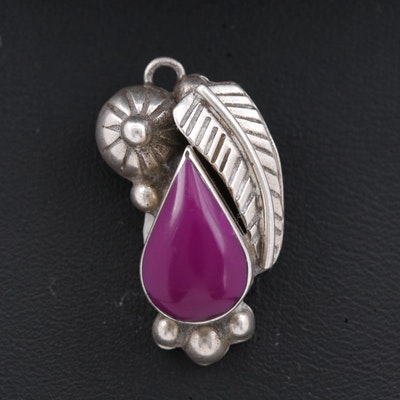 Vintage Mexican Sterling Silver Pendant with Applique Work