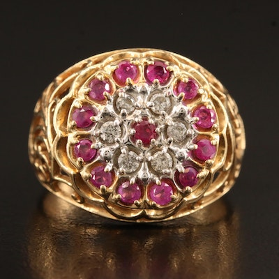 10K Ruby and Diamond Openwork Ring