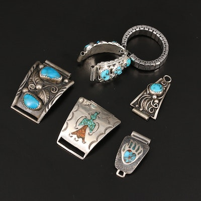 Selection of Jewelry  with Signed Sterling Turquoise Bracelet Link