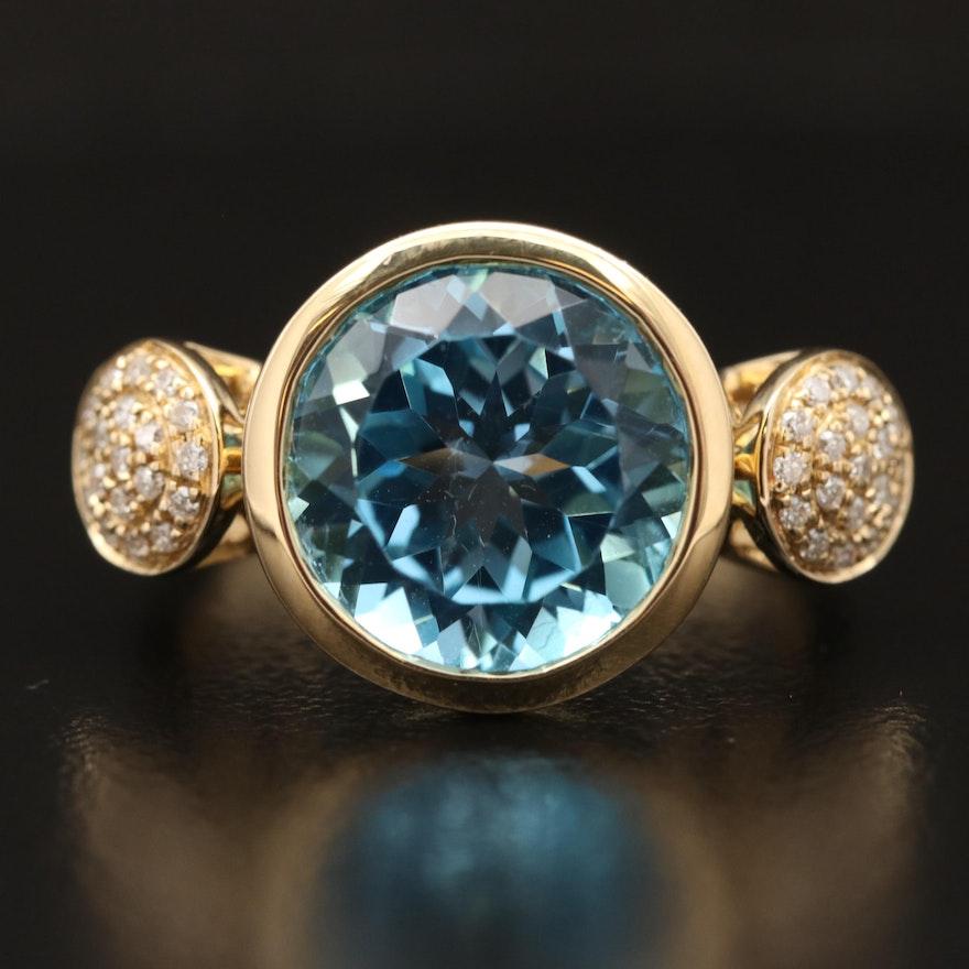 14K Topaz and Diamond Ring
