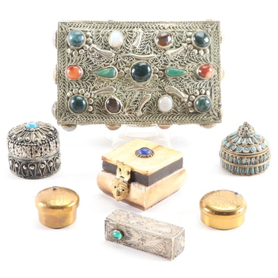 800 Silver Lipstick Tube, Silver Metal Gemstone and Glass Inlaid Vanity Boxes