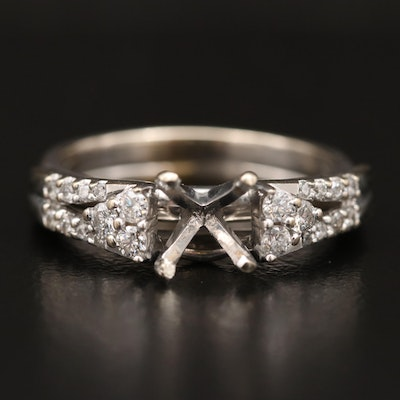 14K Semi-Mount Ring with Diamond Shoulders
