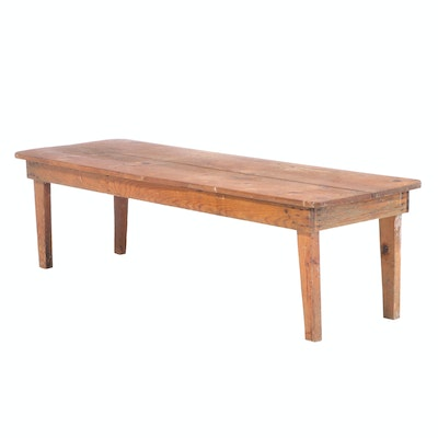 Large American Primitive Pine Coffee Table