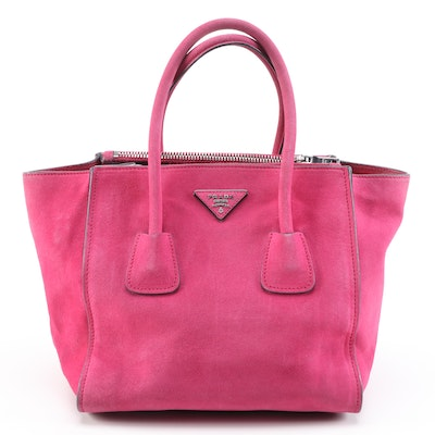Prada Twin Pocket Double Handle Tote in Fuschia Suede