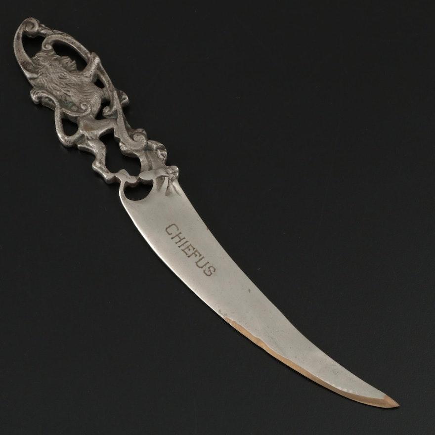 Silver Plate on Brass Lion Rampant Sword Blade Letter Opener
