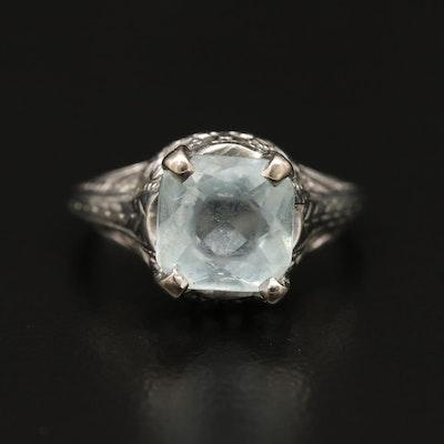 14K Aquamarine Ring with Openwork Detail