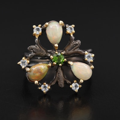 Sterling Silver Opal, Diopside and Topaz Floral Motif Ring