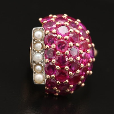 10K Ruby and Seed Pearl Cluster Ring with Palladium Accent