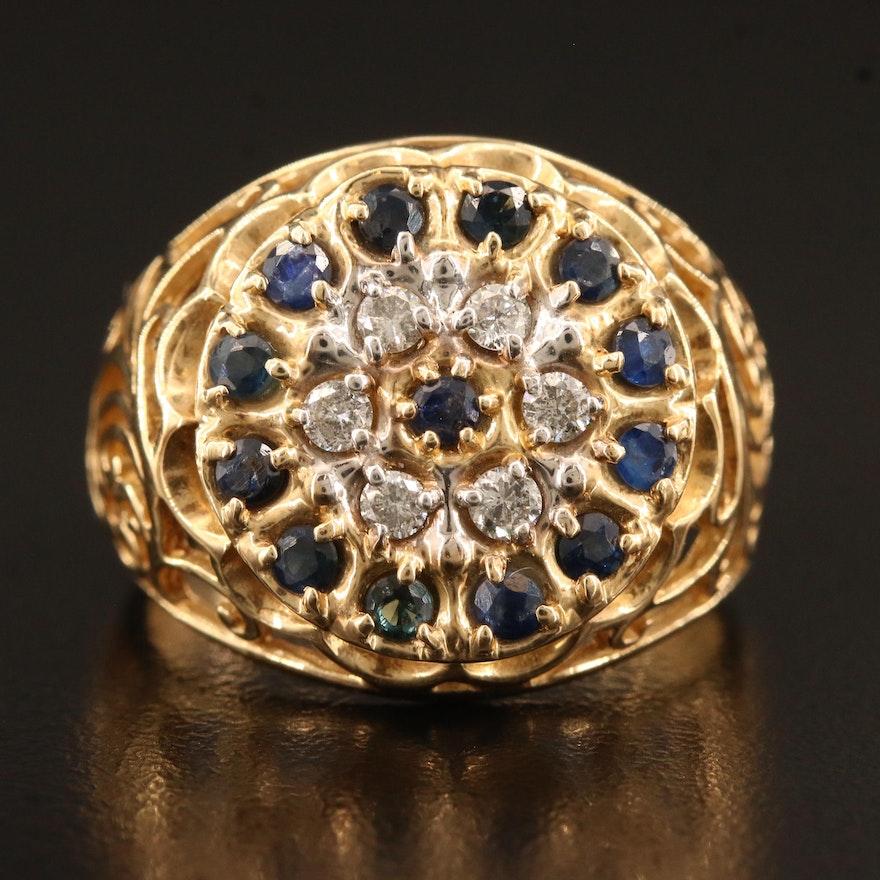 10K Sapphire and Diamond Openwork Ring