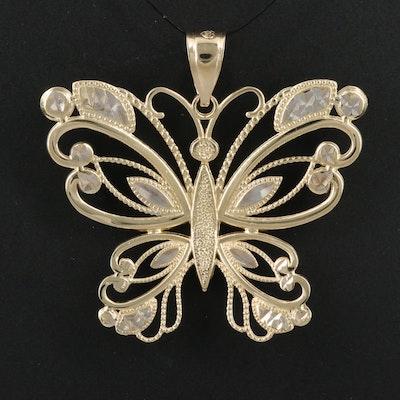 14K Diamond Cut Openwork Butterfly Pendant