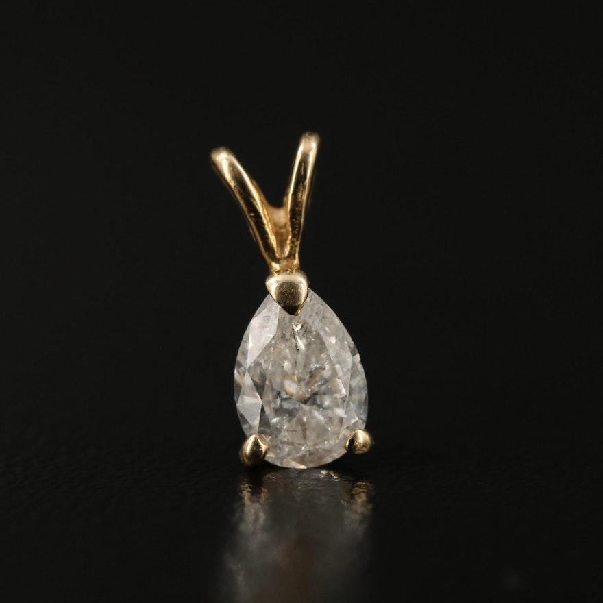 14K Pear Shaped Diamond Pendant