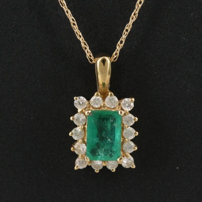 14K Emerald and Diamond Halo Pendant Necklace