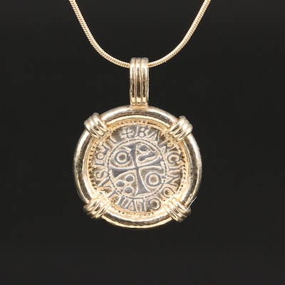 14K and 800 Silver Pendant Necklace Featuring Medieval Style Coin
