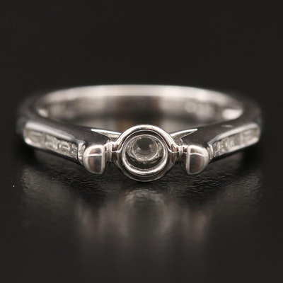 14K Diamond Euro Shank Semi-Mount  Ring