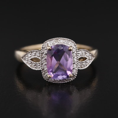 Sterling Rectangular Cushion Amethyst and Diamond Halo Ring