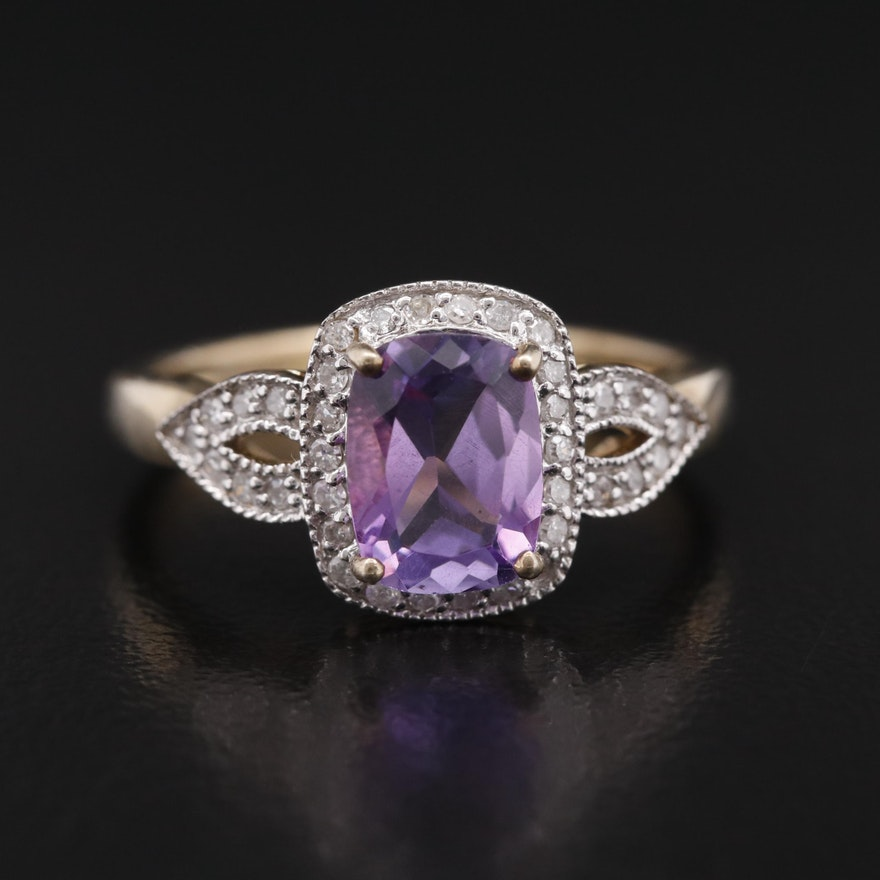 Sterling Rectangular Cushion Amethyst and Diamond Halo Ring