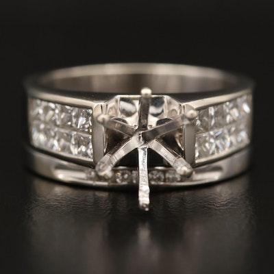 14K and 18K 1.11 CTW Diamond Semi-Mount Ring