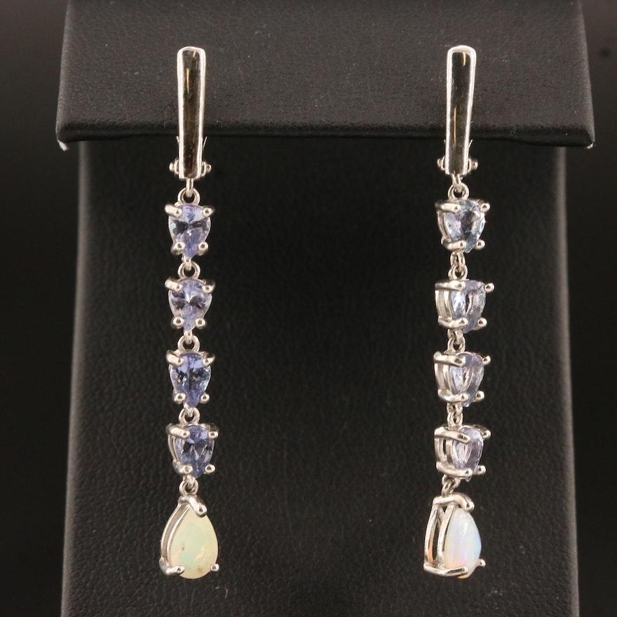Sterling Silver Opal and Tanzanite Dangle Earrings