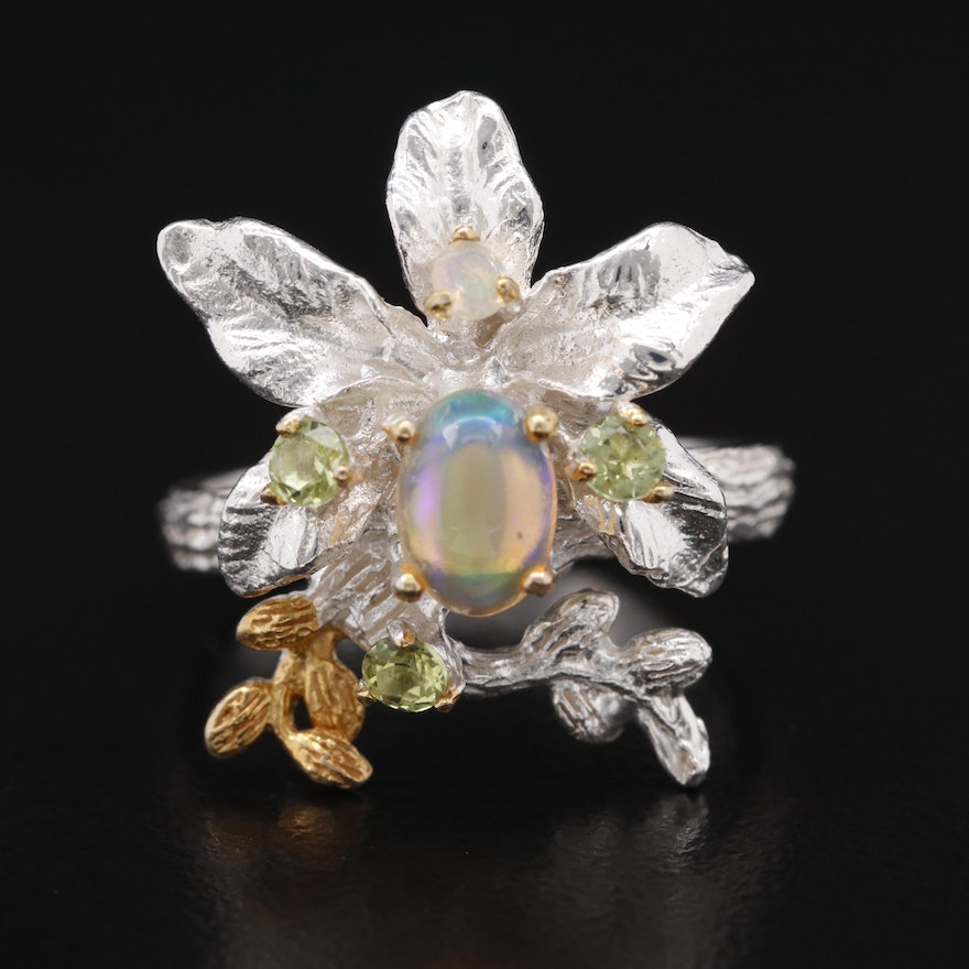 Sterling Opal and Peridot Foliate Ring