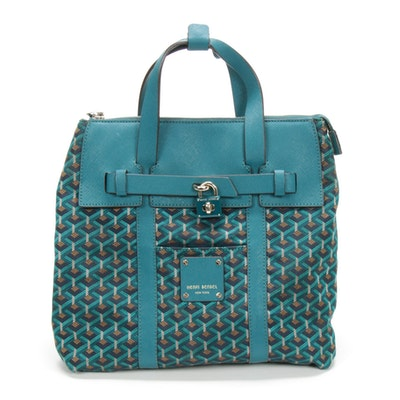Henri Bendel Saffiano Leather and Printed Nylon Knapsack in Teal/Turquoise