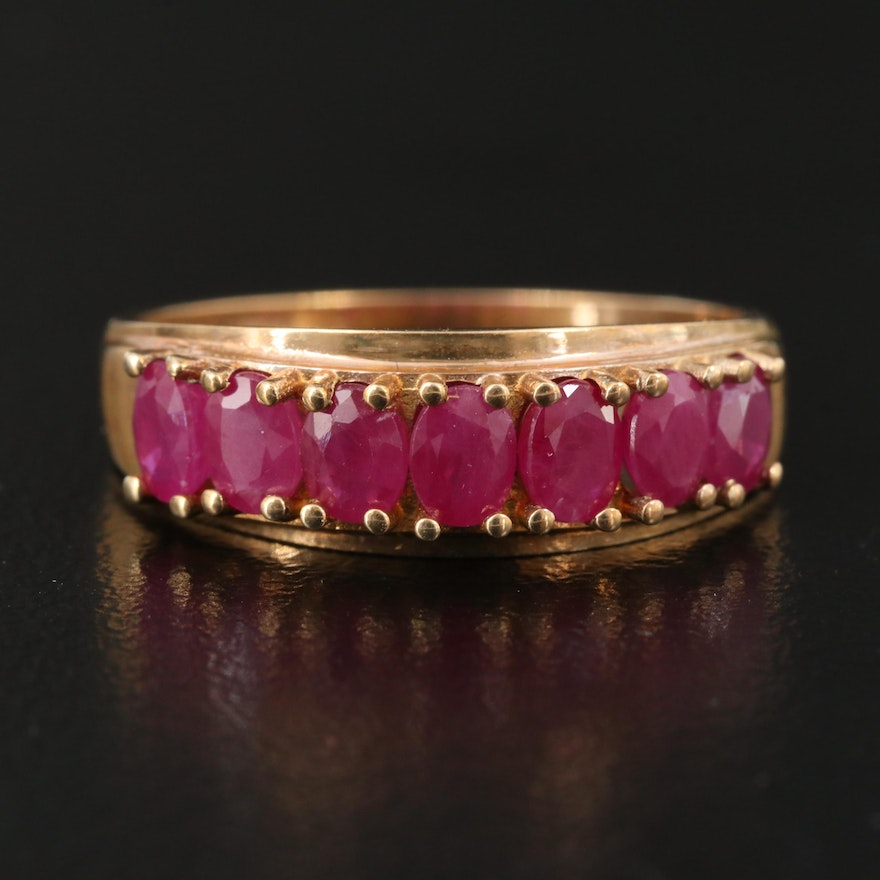 10K Oval Faceted Ruby Ring