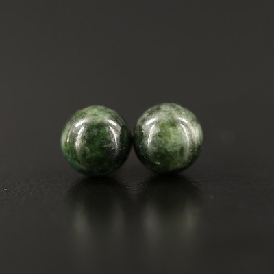 14K Nephrite Stud Earrings