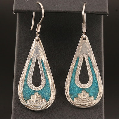 Vintage Mexican Sterling Silver Turquoise Inlay Earrings with Mayan Temple Motif