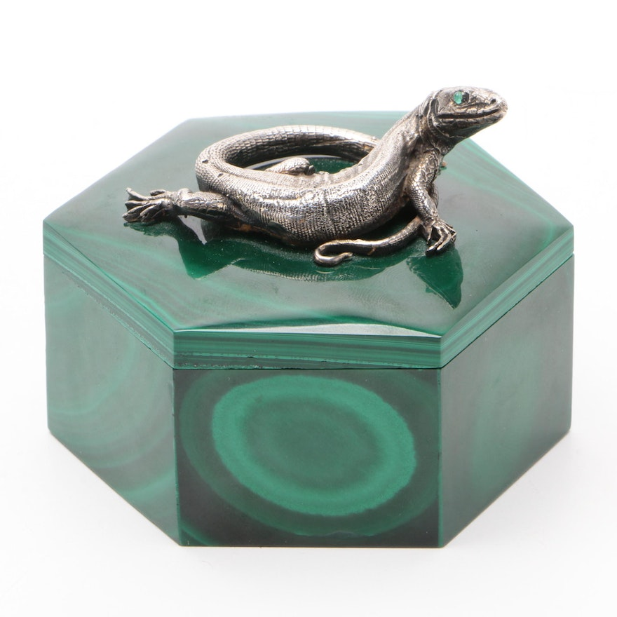 Carved Malachite Trinket Box with Attached Silver Plate Monitor Lizard