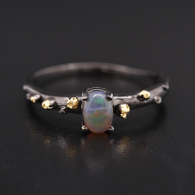 Sterling Oval Opal Cabochon Ring with Textured Shoulders