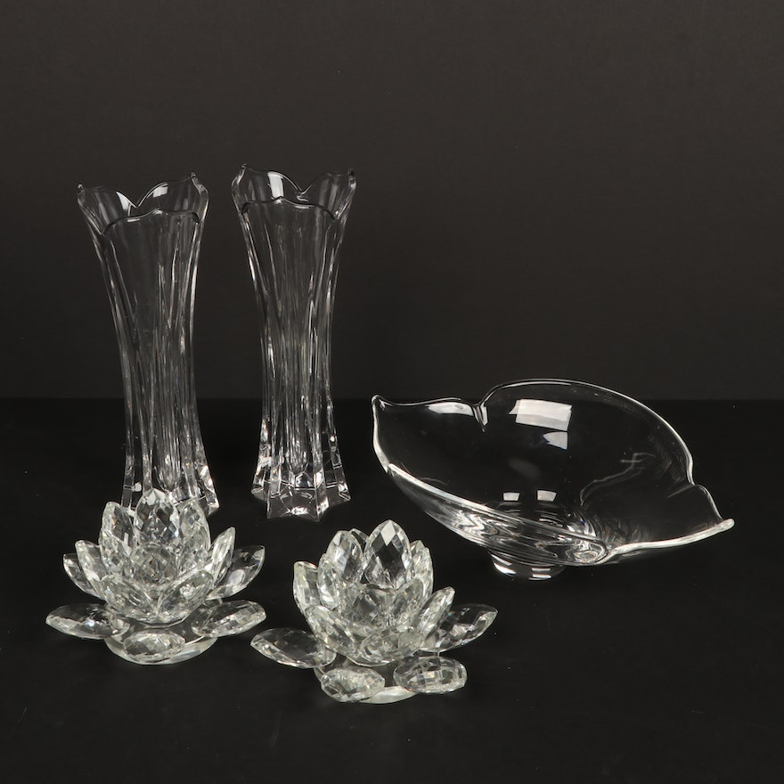 Gorham Crystal Lotus Vases with Other Crystal Lotus Table Accessories