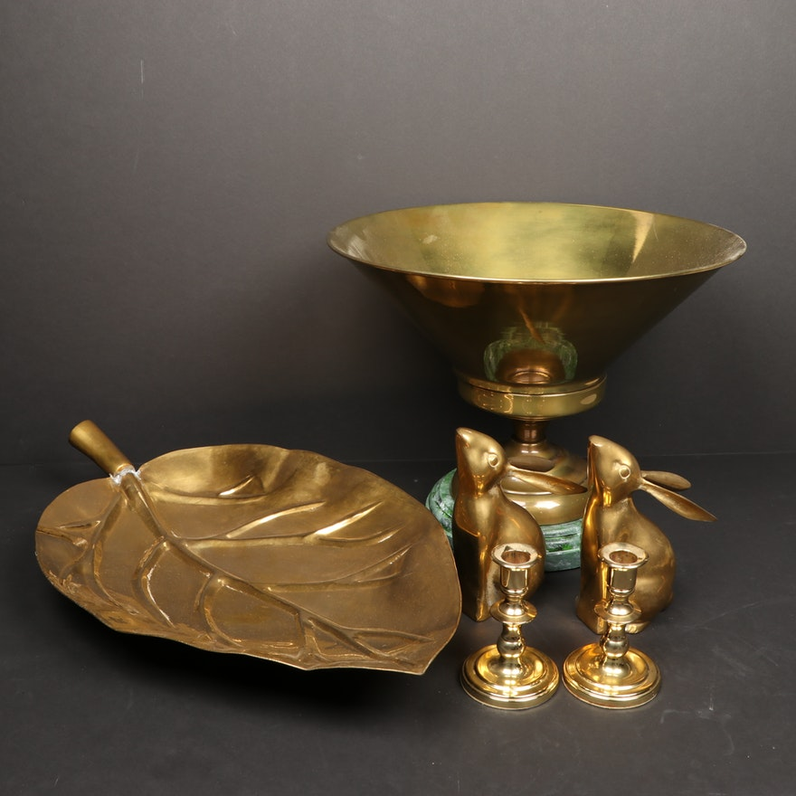Brass Centerpiece Table Décor, Including Baldwin Candlesticks and Bunny Bookends