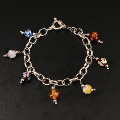 Sterling Silver Murano Glass Charm Bracelet