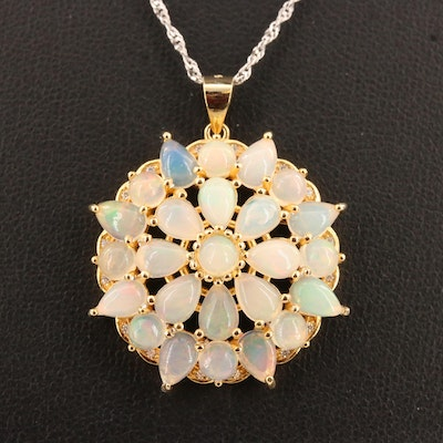 Sterling Silver Opal and Cubic Zirconia Flower Pendant Necklace