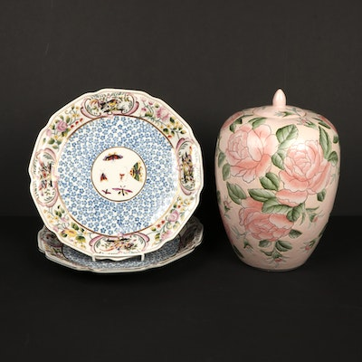 Chinese Hand-Painted Peony Ginger Jar and Porcelain Cabinet Plates