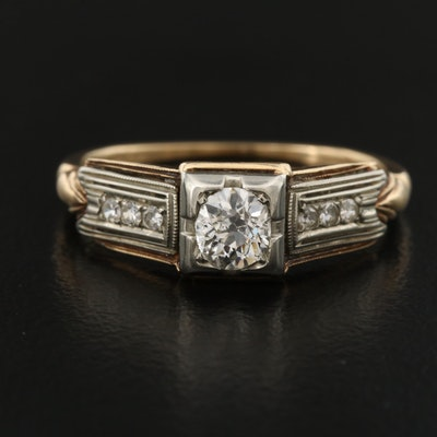 Art Deco 14K and 18K Diamond Ring