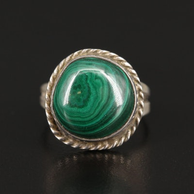 Southwestern Style Sterling Silver Malachite Ring with Rope Detailing
