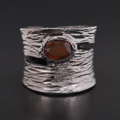 Sterling Silver Opal Textured Convex Band