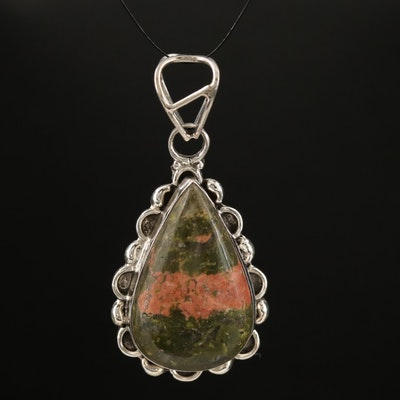 Sterling Silver Unakite Pendant Featuring Scalloped Border