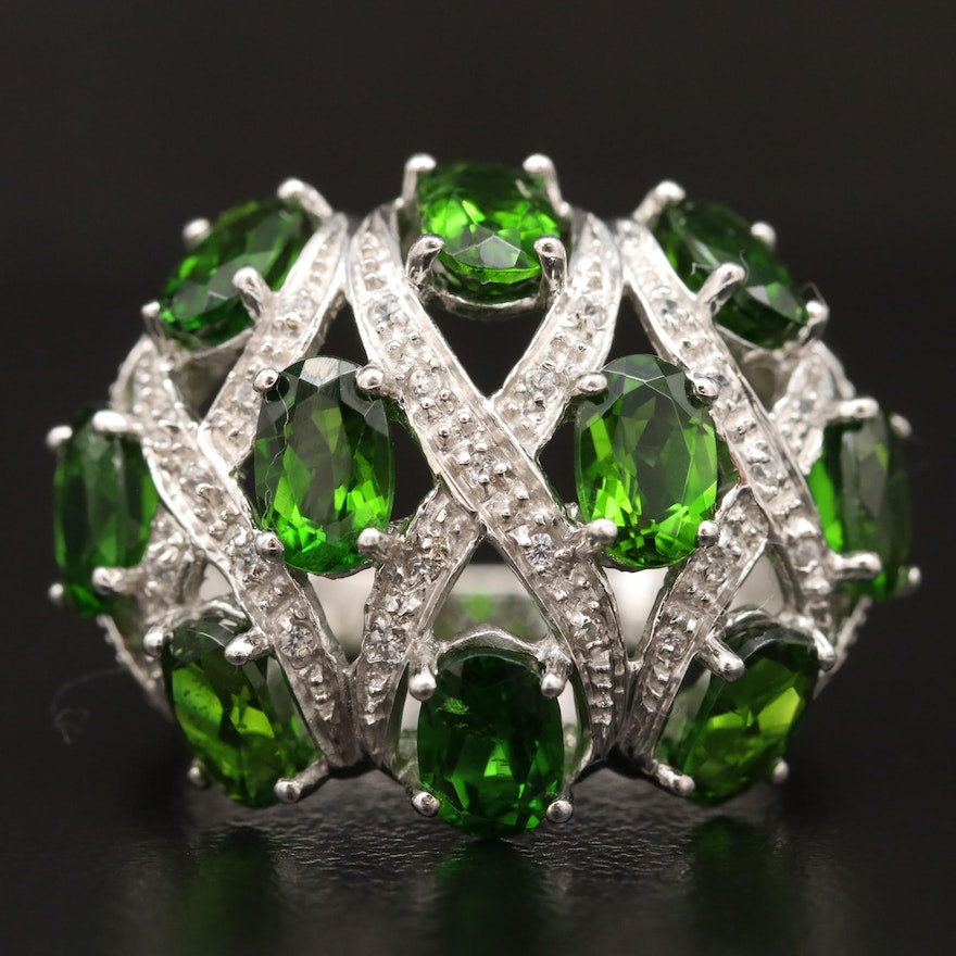 Sterling Silver Diopside and Sapphire Ring