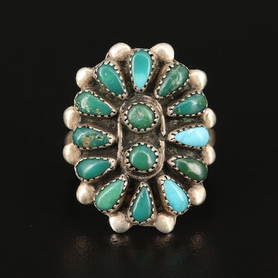 Western Sterling Turquoise Petit Point Ring