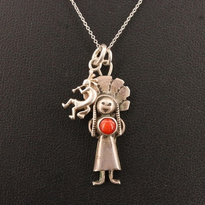 Western Sterling Silver Coral Kokopelli and Kachina Necklace