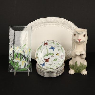 Portuguese Bunny Pitcher, Fused Art Glass Plate, and Other Porcelain Dinnerware