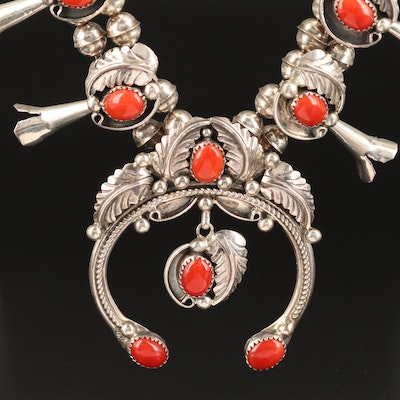 Signed Western Sterling Coral Squash Blossom Necklace with Naja Pendant