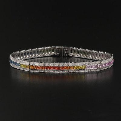 14K Sapphire and 1.34 CTW Diamond Link Bracelet