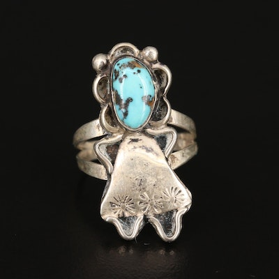 Western Sterling Turquoise Figural Ring