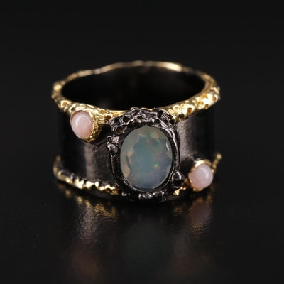 Sterling Bezel Set Opal Ring
