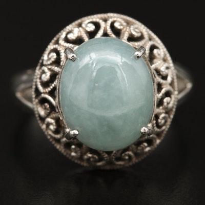 Sterling Silver Jadeite Openwork Ring